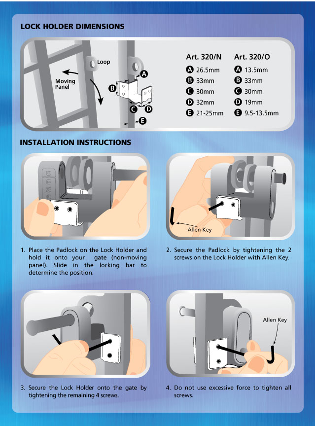 DURO ART320/O PADLOCK INSTRUCTION MANUAL