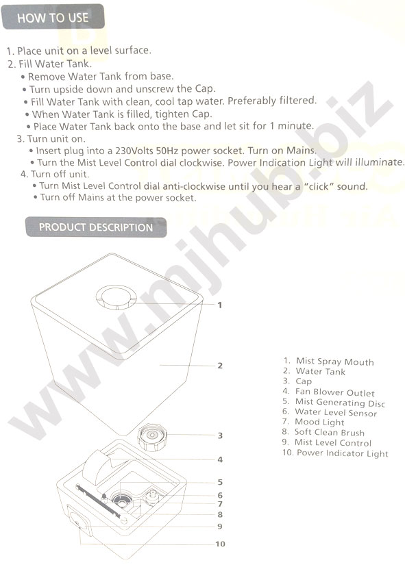 Advante Cool Mist Humidifier User Manual Pg 1