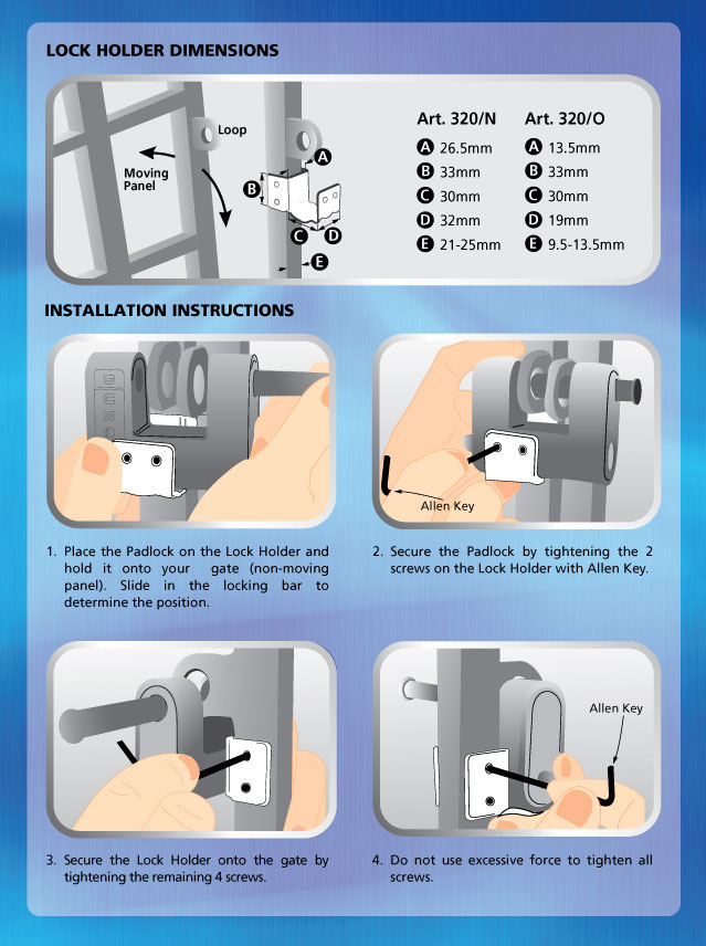 Art320/N Art320/O Lock Holder Specs