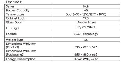 Vintec V40SGEBK Technical Specs.