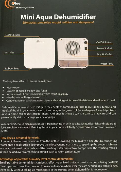 Olee Dehumidifier Mini Aqua OL-700