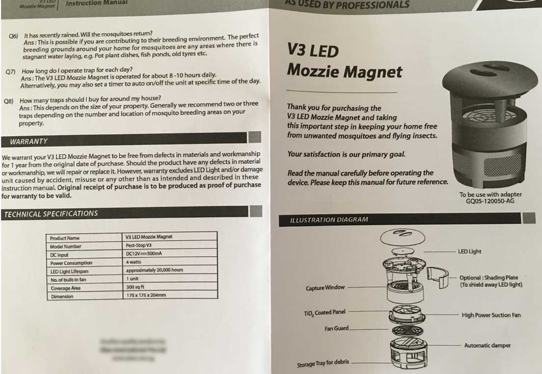 Pest-Stop V3 LED Mozzie Magnet Instruction Manual Pg 1