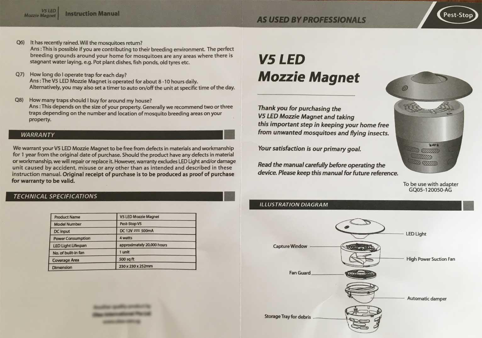 Pest-Stop V5 LED Mozzie Magnet - Manual