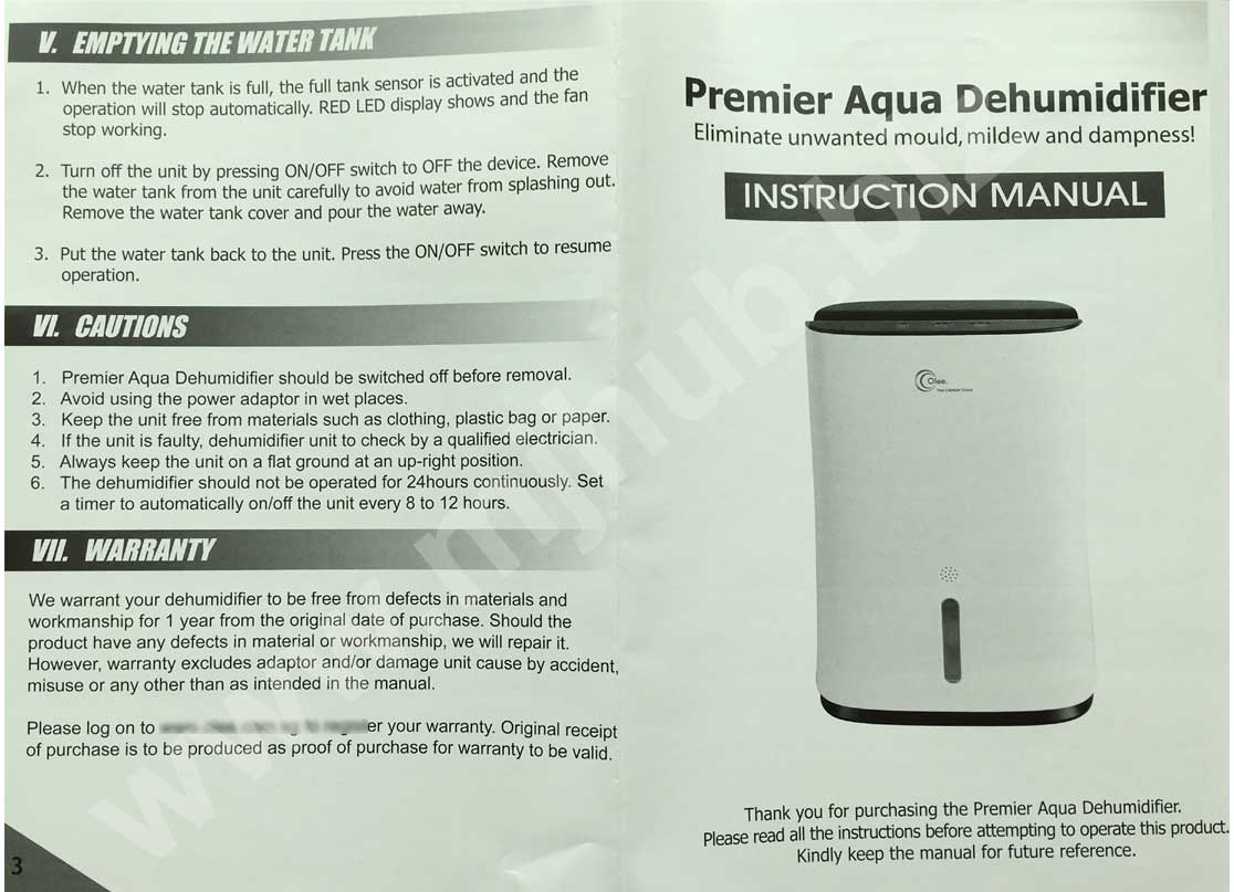 Olee Premier OL800 Air Dehumidifier User Manual Guide