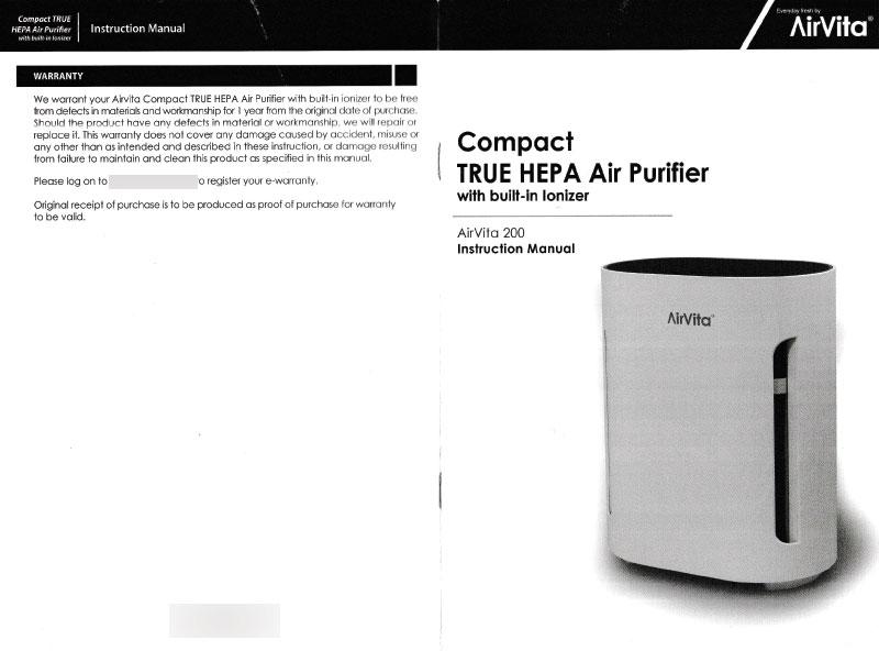 AirVita 200 Compact Air Purifier User Manual Pg 1