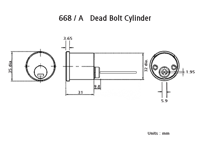 Duro Art 668/A Dead Bolt Cylinder Dimension Diagram