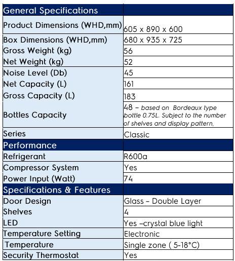 Vintec V50SGE Wine Cooler Technical Specification